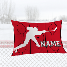 Load image into Gallery viewer, Personalized Red/Black/White Hockey Bedding Set