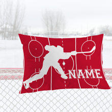 Load image into Gallery viewer, Personalized Red/White Hockey Bedding Set