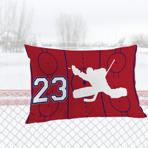 Personalized Red/Blue/White Hockey Bedding Set