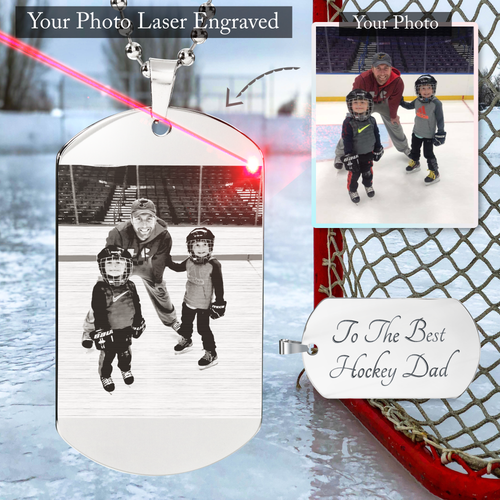 Personalized Hockey Dad Dog Tag Necklace (CLICK