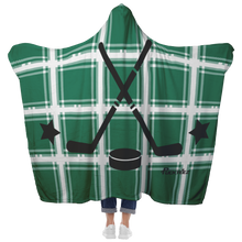 Load image into Gallery viewer, Plaid Green Hockey Hooded Blanket