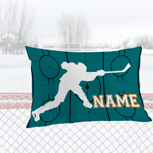 Personalized Teal Hockey Bedding Set