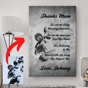 Thanks Mom Personalized Hockey Canvas