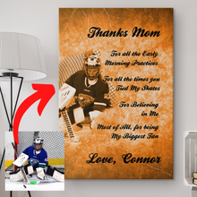 Load image into Gallery viewer, Thanks Mom Personalized Hockey Canvas