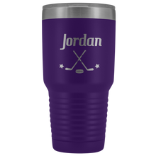 Load image into Gallery viewer, Purple Hockey Tumbler with Customized Font and Name