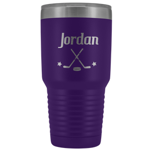 Purple Hockey Tumbler with Customized Font and Name