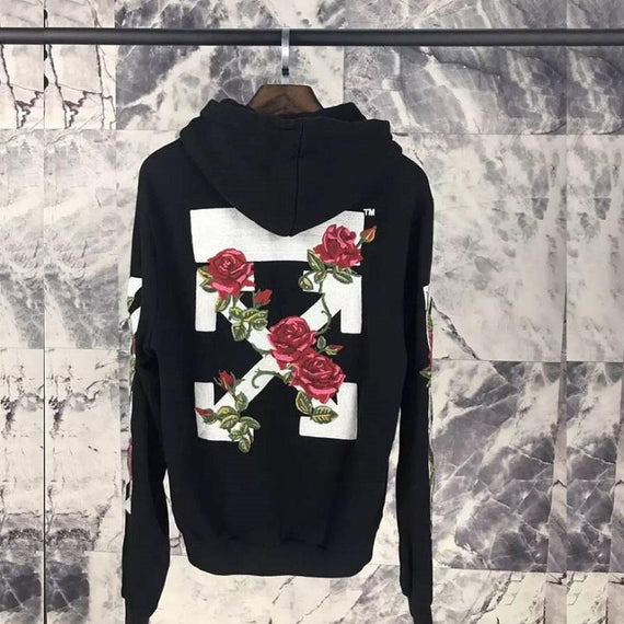 OFF WHITE Embroidered Rose Zip Up Hoodie