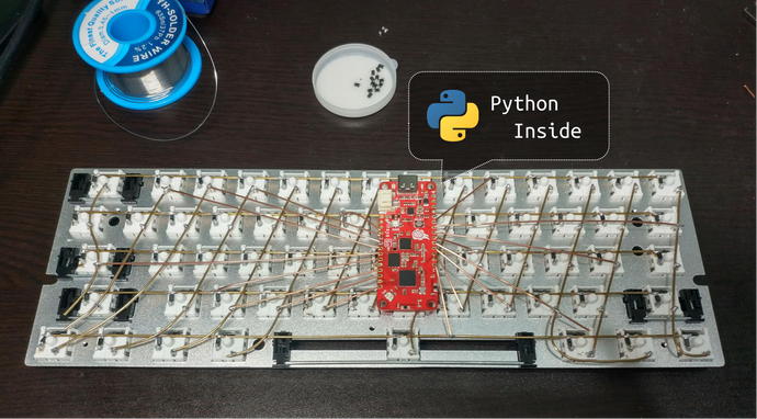 Hand-wiring a USB & Bluetooth keyboard powered by Python