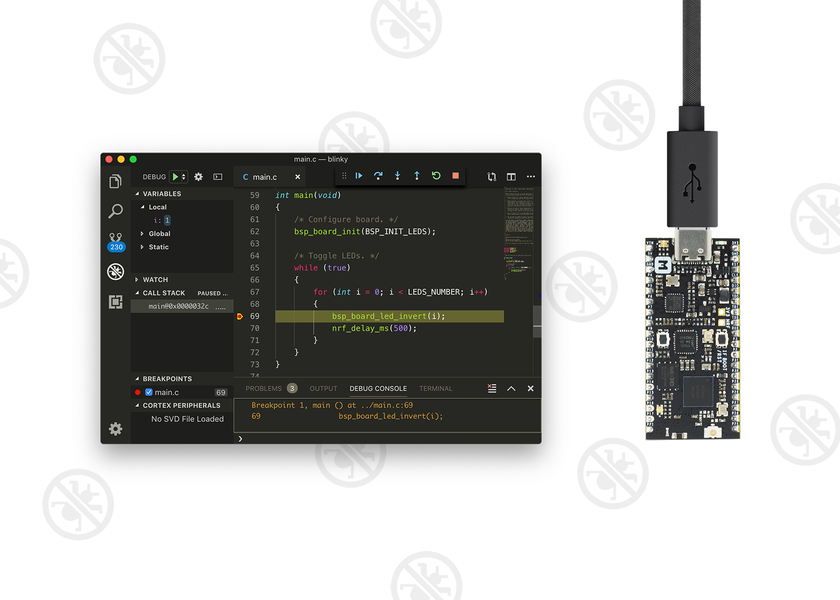 Debugging nRF52840-MDK with Visual Studio Code