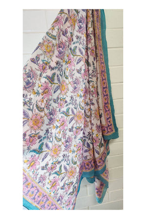 Amalfi Indian Hand Block Printed Cotton Sarong - Sumavi