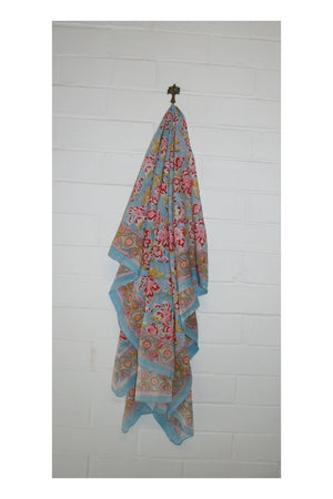 Ava Indian Hand Block Printed Cotton Sarong - Sumavi