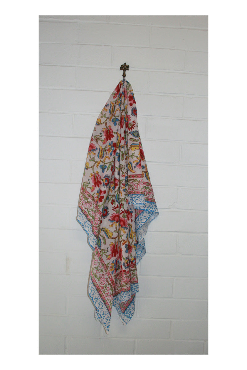 Bloom Indian Hand Block Printed Cotton Sarong - Sumavi