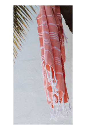 Drifter Turkish Towel - Coral - Sumavi