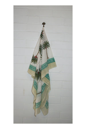 Island Vibes Indian Hand Block Printed Cotton Sarong - Sumavi