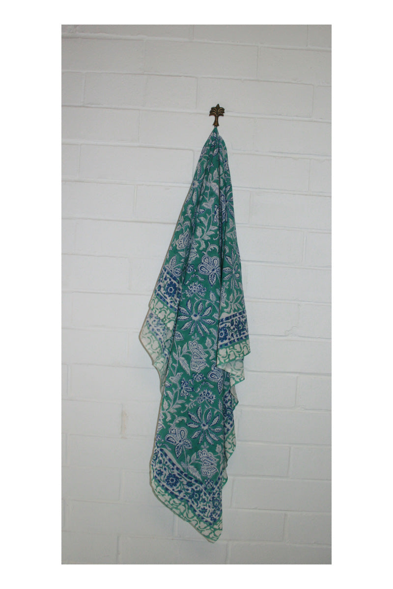 Jade Indian Hand Block Printed Cotton Sarong - Sumavi