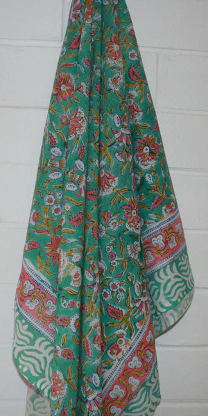 Maldives Indian Hand Block Printed Cotton Sarong - Sumavi
