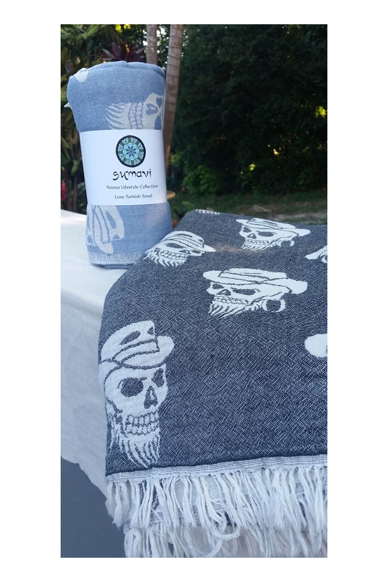 Pirate Turkish Towel - Black - Sumavi