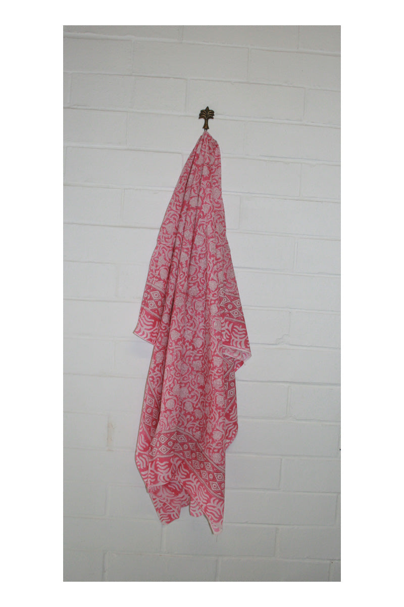 Poppy Indian Hand Block Printed Cotton Sarong - Sumavi