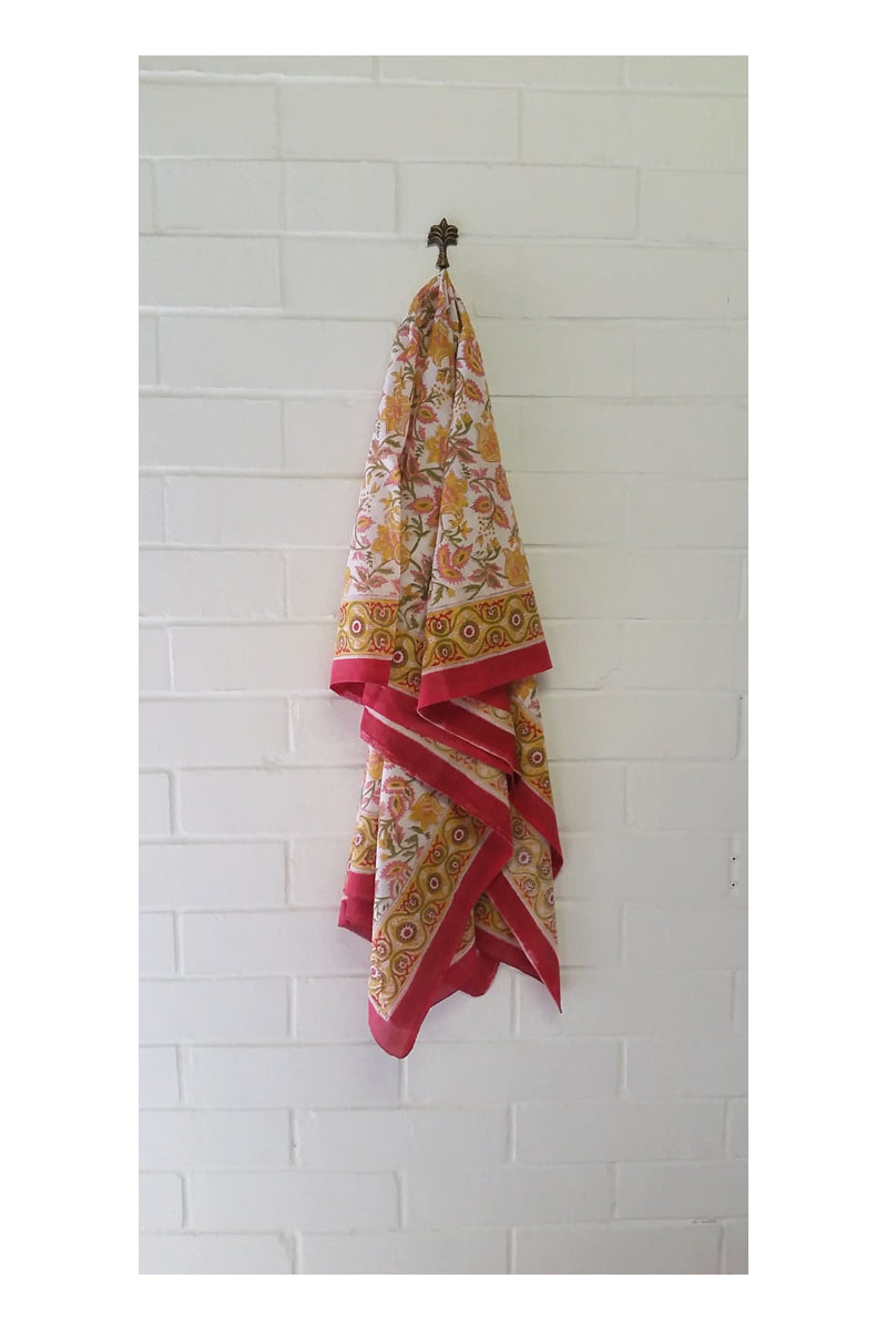 Royal Indian Hand Block Printed Cotton Sarong - Sumavi