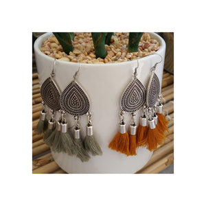 Sahara Tassel Earrings - Khaki - Sumavi