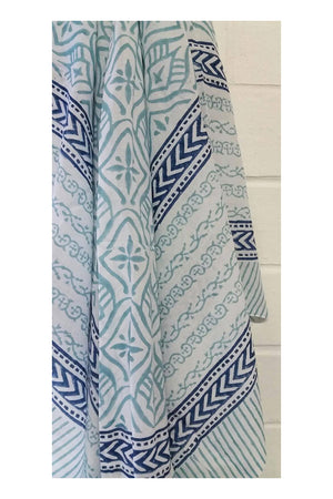 Santorini Whitewash Indian Cotton Sarong - Sumavi