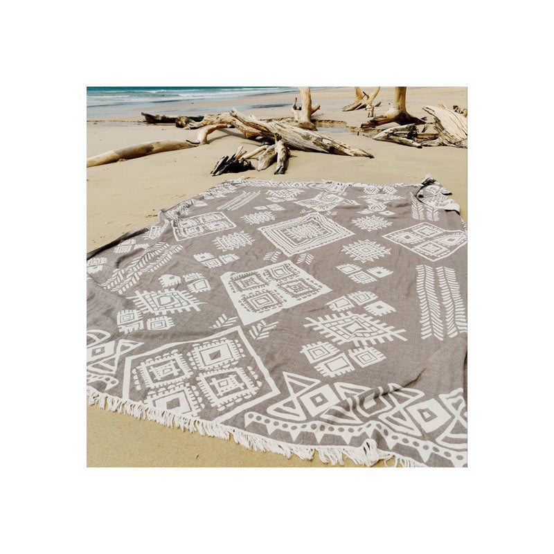 Tribe Family Size Reversible Beach Blanket - Stone