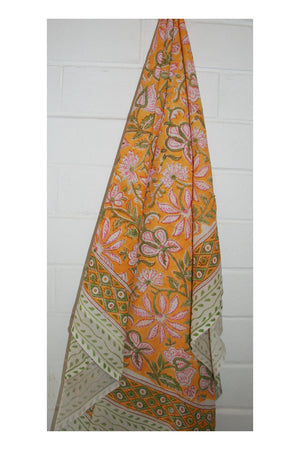 Wild Summer Indian Hand Block Printed Cotton Sarong - Sumavi