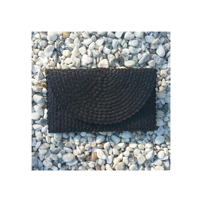 Cali Woven Palm Clutch - Black ON SALE! - Sumavi