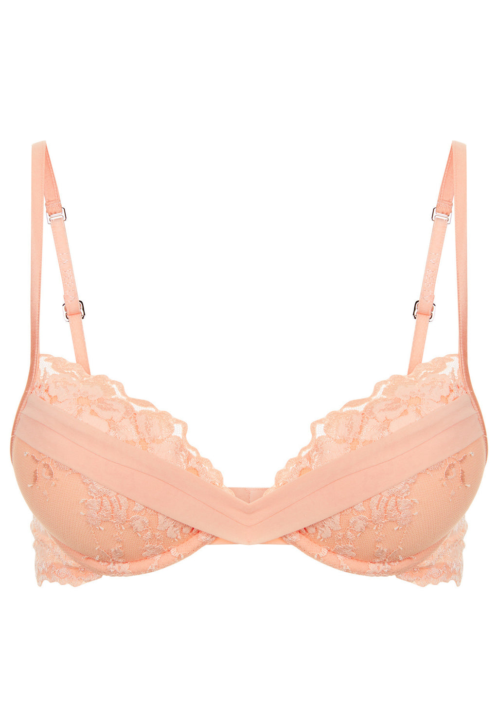 Peach Push up Bra in Leavers Lace and Silk Georgette