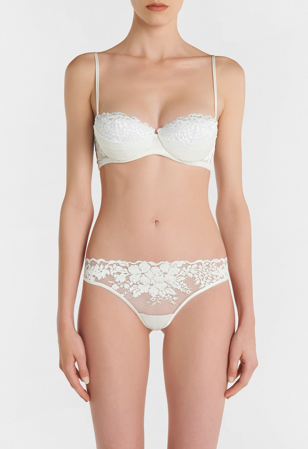 Off-White Bandeau Bra in Leavers Lace and Silk Georgette