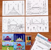 Load image into Gallery viewer, Colour my mosque colouring set