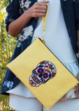 Tea & Tequila Yellow Sugar Skull Crossbody