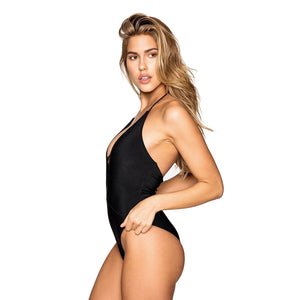 Frankie's Bikinis 'Lily' Ribbed One Piece in Black