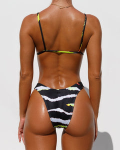 MINIMALE ANIMALE 'WALL STREET' BRIEF BIKINI BOTTOM in Acid Tiger