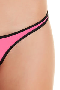 Indah Swimwear 'Vesper' Neoprene Bikini Bottom in Lime/Pink