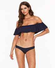 L*SPACE MIDNIGHT BLUE HEY GIRL RUFFLE OFF THE SHOULDER BANDEAU BIKINI TOP