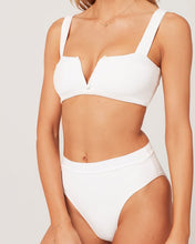 L*Space Swimwear 'Lee Lee' Ribbed Bikini Top in White