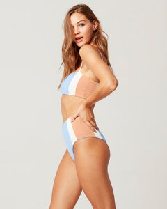 L*Space Swimwear 'Portia Girl' Bikini Bottom in Cream-Peri Blue-Chestnut