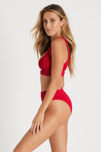 BOUND BY BOND-EYE  'THE SAVANNAH' HIGH WAIST BIKINI BOTTOM in BAYWATCH RED