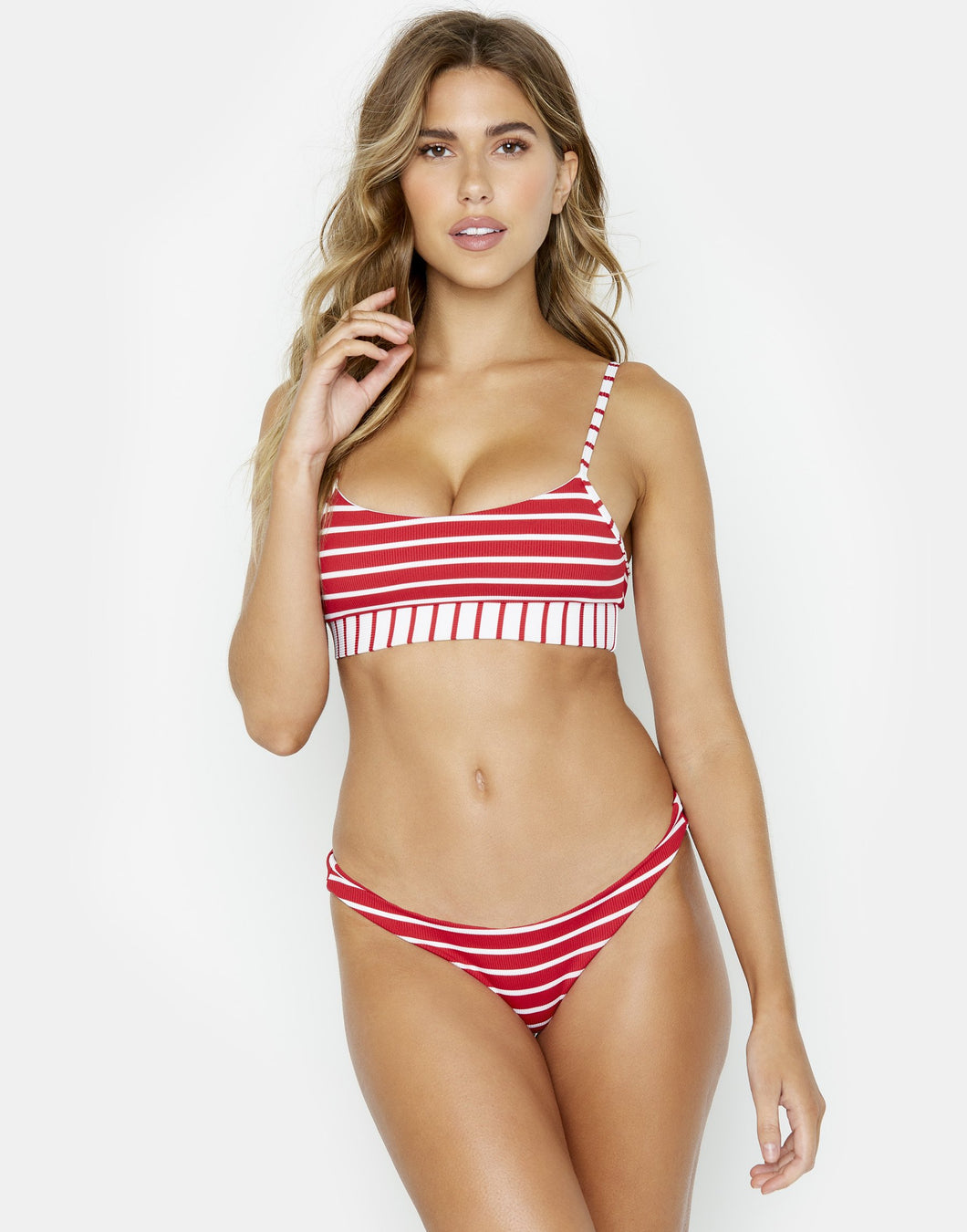 Beach Bunny Swimwear 'Emerson' Bralette Bikini Top in Red Stripe Rib