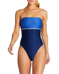 Vitamin A Swimwear 'Marylyn' One Piece Bodysuit in Blu Bar Stripe