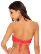 LULI FAMA SWIMWEAR TRIANA BANDEAU BIKINI TOP IN ROJO