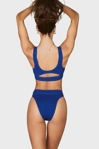 BOUND BY BOND-EYE 'THE SAVANNAH' HIGH WAIST BIKINI BOTTOM in ULTRAMARINE