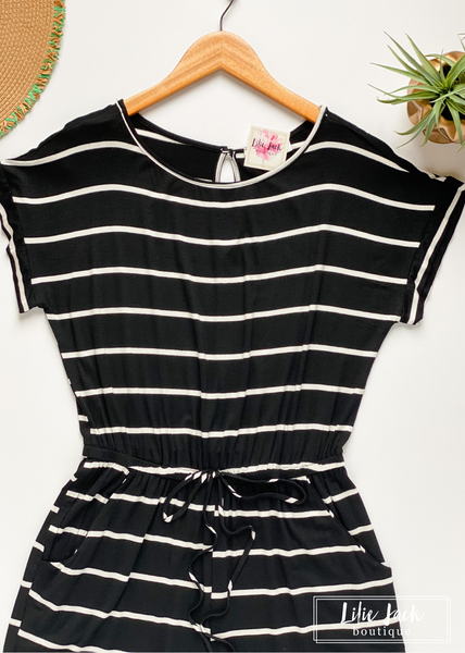 Black and Ivory Stripe Romper