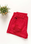 The Hazel Distressed Red Shorts