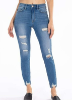 KanCan Medium Wash Distressed High Rise Jean