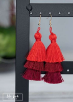 Red Ombre Tassel Earrings