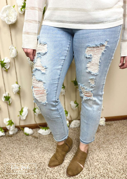 Veronica Judy Blue Destroyed Light Wash Boyfriend Jeans