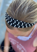 Game Day Black & White Stripe Headband - Dona Bela Shreds