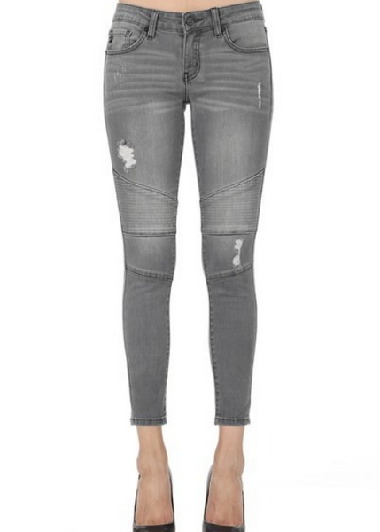 KanCan Light Gray Moto Jean